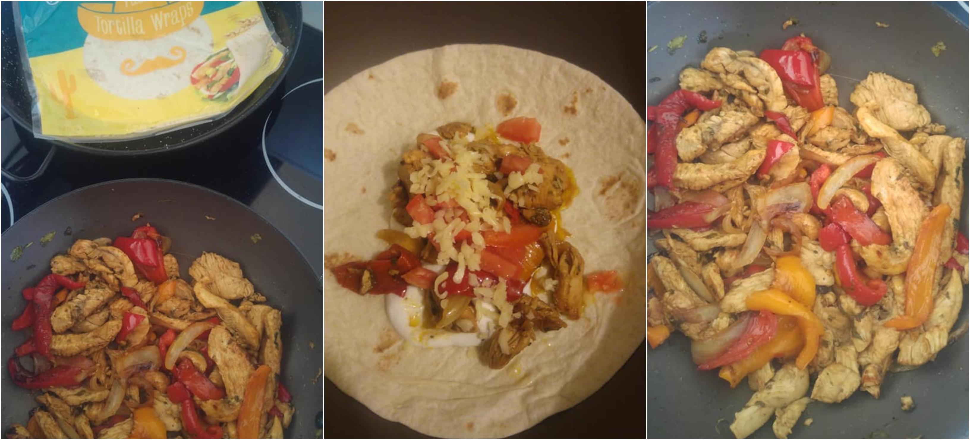 Συνταγή για μεξικάνικα fajitas με κοτόπουλο σε tortilla
